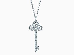 ティファニー キーモチーフ ダイヤ ペンダント ネックレス PT950